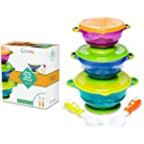 Amazon Price History for:Stay Put and Spill Proof Suction Toddler Baby Bowls Feeding Set- Bonus Spoon and Fork 3 Sizes of Bowls, and Snap Tight Lids, Perfect To Go Storage FDA Approved BPA Free, Best Snack Bowl