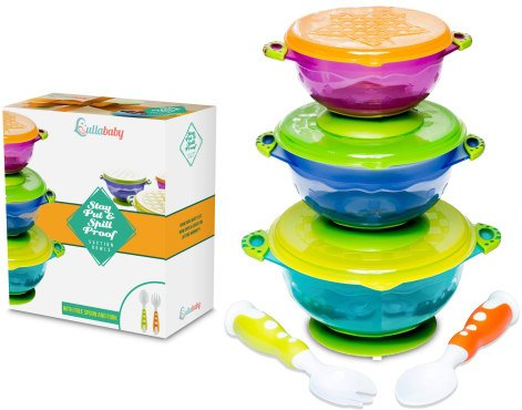 Stay Put Baby Bowls - Suction Toddler Spill Proof Feeding Set   Bonus Spoon and Fork   3 Sizes of Bowls and Snap Tight Lids   Perfect To Go Storage   FDA Approved BPA Free