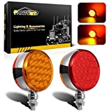 "Partsam 2pc 4"" Round Double Face Single Stud Mount Pearl Red/Amber 48 LED Pedestal Fender Reflective Lights w Chrome Die Cast Housing Sealed for Kenworth Peterbilt Freightliner Western Star Volvo"