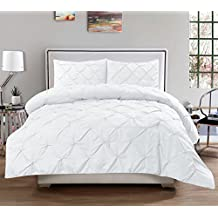 Sweet Home Collection 3-Piece Luxurious Pinch Pleat Decorative Pintuck Comforter Set-Highest Quality, Wrinkle Resistant, All Season-Full/Queen, White