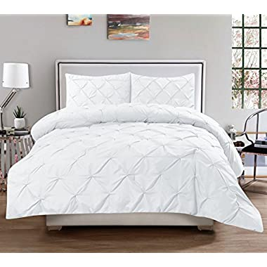 3 Piece Luxurious Pinch Pleat Decorative Pintuck Comforter Set - HIGHEST QUALITY, WRINKLE RESISTANT, ALL SEASON - Full/Queen, White