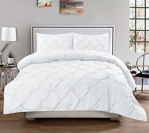3 Piece Luxurious Pinch Pleat Decorative Pintuck Comforter Set - HIGHEST QUALITY, WRINKLE RESISTANT, ALL SEASON - Full/Queen, White (White Set Pintuck Comforter)