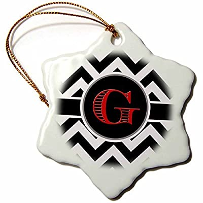Ornaments to Paint BrooklynMeme Designs - Black and white chevron monogram red initial G -