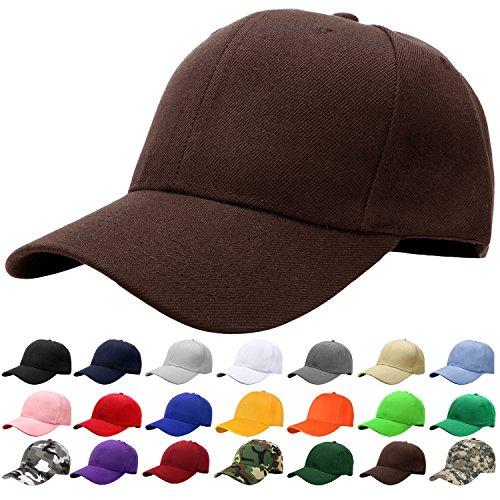 Falari Baseball Cap Adjustable Size Solid Color G001-18-Brown ()