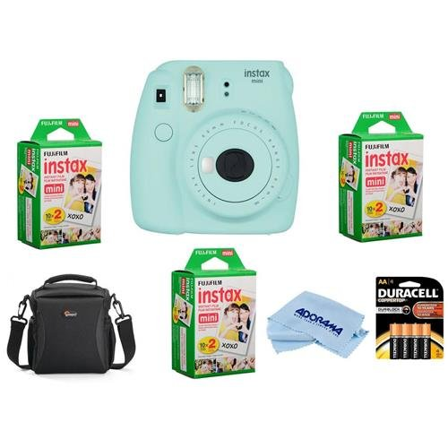 Fujifilm Instax Mini 9 Camera, Ice Blue - Bundle With 3x instax mini Instant Daylight Film Twin Pack, Camera Bag, 4 AA Batteries, Microfiber Cleaning Cloth