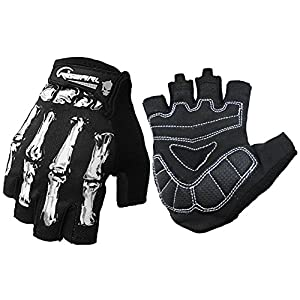 Cycling Gloves For Men And Women, Bike Gloves With Shock-absorbing Gel Pad, Anti-Slip Silicone Printing, Breathable, Touchscreen - Motorcycles, MTB, Road Bike Half Finger Skeleton Bones Short Gloves