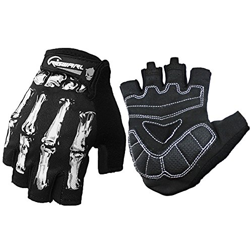 Cycling Gloves For Men And Women, Bike Gloves With Shock-absorbing Gel Pad, Anti-Slip Silicone Printing, Breathable, Touchscreen - Motorcycles, MTB, Road Bike Half Finger Skeleton Bones Short (Short Finger Bike Gloves)