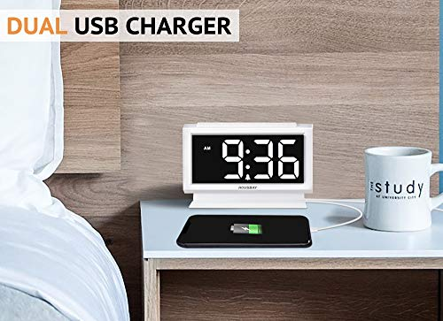 Housbay Digital Alarm Clocks for Bedrooms - Handy Night Light, Large Numbers with Display Dimmer, Dual USB Chargers, 12/24hr, Outlets Powered Compact Clock for Nightstand, Desk, Shelf - 【LARGE 5.3'' LED DISPLAY WITH 1.8'' JUMBO DIGITS】- This large led display makes it easy for anyone to check the time from across the room. The full range dimmer facilitates time viewing at all times. Great choice for your bedside and kids' room 【HANDY 2-COLOR NIGHT LIGHT】- White and orange. The brightness-adjustable night light will come in handy especially for baby's nighttime feedings and diaper changes, comforting child to sleep with gentle light on and lighting up the path to bathroom 【HANDY DUAL USB CHARGERS】- It comes with dual USB ports at the back to charge your phones, tablets, or other 5V electronics - clocks, bedroom-decor, bedroom - 51w2TGNVOzL -