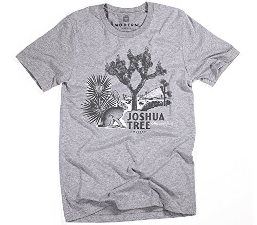 Superluxe Clothing Mens Vintage 60s Style Joshua Tree National Park Guys Festival Tri-Blend T-Shirt, Grey Triblend, Large ()