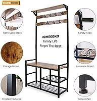 Homekoko Coat Rack Shoe Bench Hall Tree Entryway Storage Bench Wood Look Accent Furniture With Metal Frame 3 In 1 Design Rustic Brown Amazon Sg Home