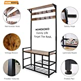 HOMEKOKO Coat Rack Shoe Bench, Hall Tree Entryway