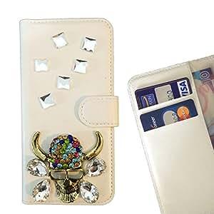 - Skull Head Bling Bling - 3D hecho a mano de la manera cristalina de Bling del Rhinestone de la PU de la carpeta del tir???¡¯?? - Lady Case For iphone 5C CASE Cover ,iphone 5C case,iphone5C cover ,Cases for iphone