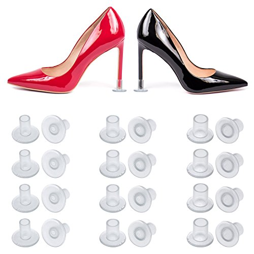Frienda 24 Pairs High Heel Protectors Clear Heel Stoppers for Wedding or Outdoor Events