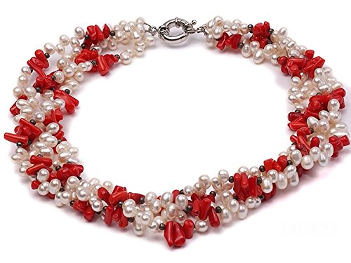 (JYX Pearl Necklace for Women Four-Strand 5-6mm White Freshwater Pearl and Red Coral Chips Necklace 18