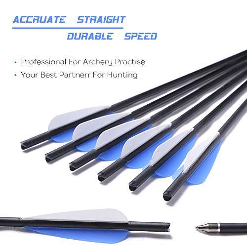 DMAR Crossbow Arrows Bolts Practice Arrows Hunting Archery Carbon Crossbow Bolt Lightweight Carbon Shafts Pack of 12pcs Carbon Spine 500 for Competition/Practice Hunting/Archery Accessories- 20 Inches