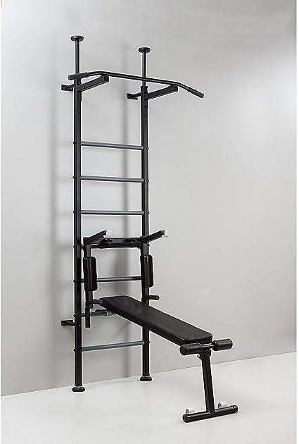 Home Gym Energy: banco de peso, banco de abdominales, barra de dominadas, barra de dominadas, barra de dominadas, escalera sueca interior, estación de fitness, montaje en pared o techo y suelo, capacidad