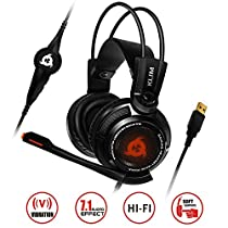 ⭐️ Klim Puma Gaming Headset - USB Gamer Headset with Mic - 7.1 Surround Sound - Very Audio - Integrated Vibrations - Over Ear Headphones - Perfect for PC and PS4Black