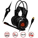 KLIMTM Puma Gaming Headset - USB Gamer Headset with Mic - 7.1 Surround Sound - Very Audio - Integrated Vibrations - Over Ear Headphones - Perfect for PC and PS4 Black