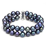 Sterling Silver 2 Rows 8-8.5mm Dyed-black Freshwater Cultured Pearl Bracelet with Tube Clasp, 8.5''