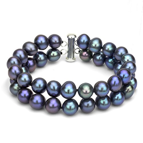Sterling Silver 2 Rows 8-8.5mm Dyed-black Freshwater Cultured Pearl Bracelet with Tube Clasp, 8
