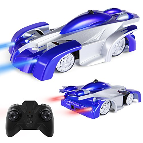 Climber Wall (Remote Control Car Kid Toys for Boys Girls Birthday Present with Mini Control LED Light, Dual Mode 360° Rotating Stunt Car (Blue))