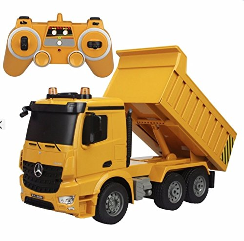 (Large 14 Inch Rc Mercedes Benz Heavy Construction Dump Truck Remote Control 1:18 6 Channel w/ Lights and Sound)