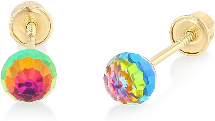 Ioka 14K Yellow Gold CZ Simple Minimalist Ribbon Bow and Heart Screw Back Stud Earrings