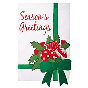 Season's Greetings Ornaments and Bow Applique Estate Size House Flag