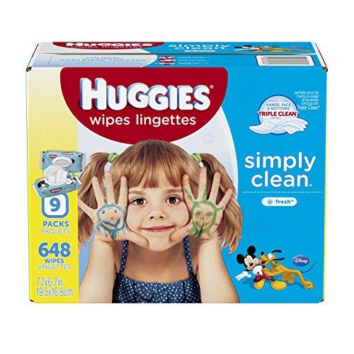 Huggies simplement nettoyer bébé lingettes, parfum frais, Soft Pack, Ct 648 (emballage peut-être varier)