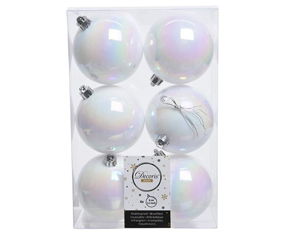 6 Iridescent White 8cm Shatterproof Christmas Tree Baubles Crafty Capers