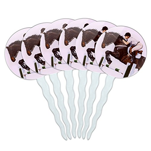 GRAPHICS & MORE Horse Open Stadium Show Jumping Cupcake Picks Toppers Decoration Set of 6