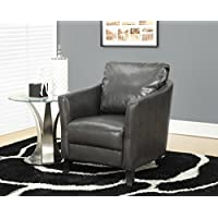 Monarch Specialties Charcoal Grey Leather-Look Accent Chair, 35-Inch