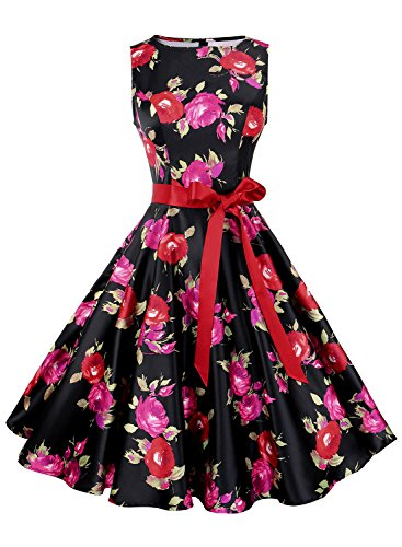Anni Coco Women's 1950s Hepburn Vintage Swing Dresses With Ribbon Belt Floral 11 Small