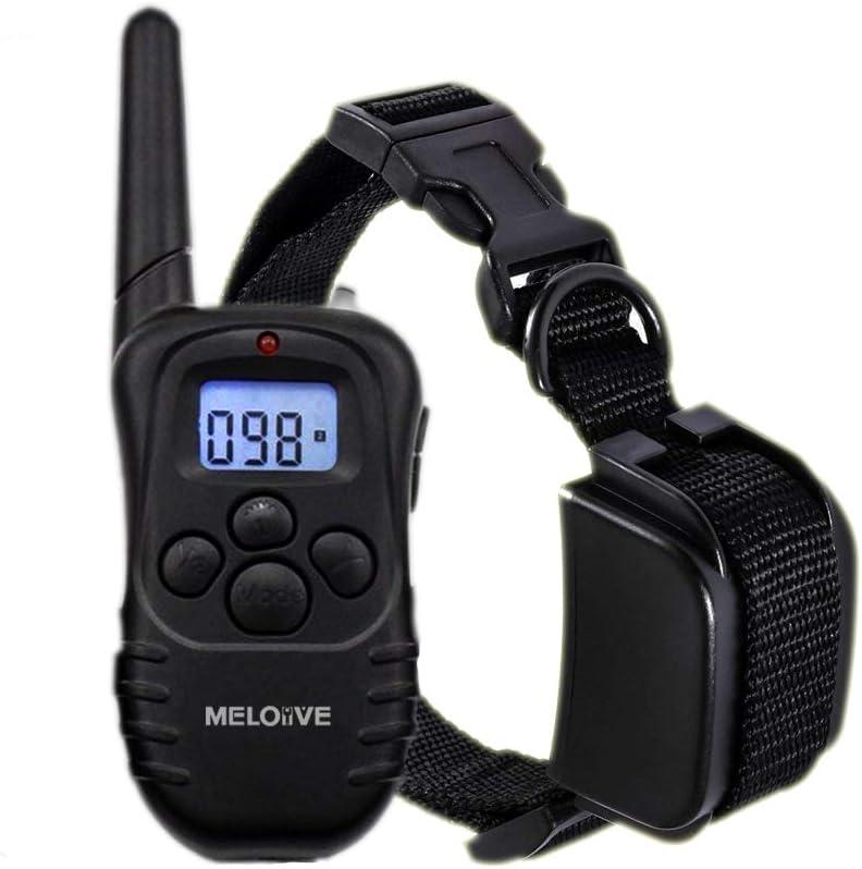 Meloive Collar adiestramiento para Perros, Collar antiladridos para Perros, Tiene Advertencia de Sonido, función de vibración, Tiene un Alcance de 300 Metros.