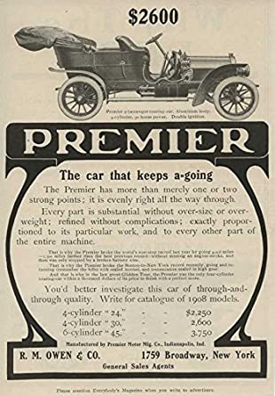 Amazon com: 1908 Premier Touring Car NYC NY Auto Ad Reo