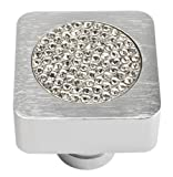 Atlas Homewares 3193 Crystal Collection .98-Inch Square Small Inset Crystal Knob, Brushed Anodized Aluminum