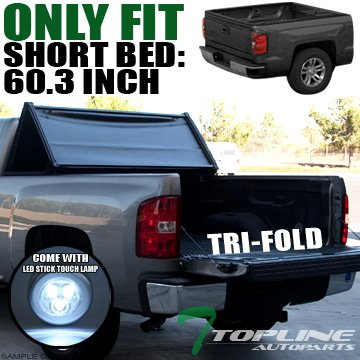 "Topline Autopart Tri Fold Soft Vinyl Truck Bed Tonneau Cover With LED Touch Lamp JR For 05-15 Toyota Tacoma Double (Crew) Cab 5 Feet (60"") Short Bed"