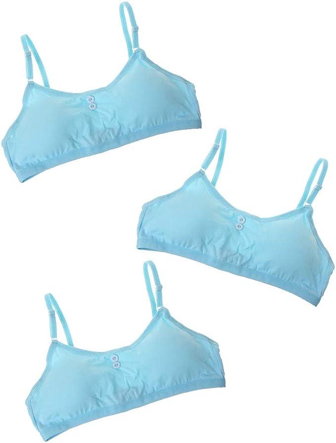 Hoxin - Sujetador de algodón para niñas, diseño de pubertad para adolescentes (transpirables, 8 a 16 años) azul Talla única: Amazon.es: Ropa y accesorios
