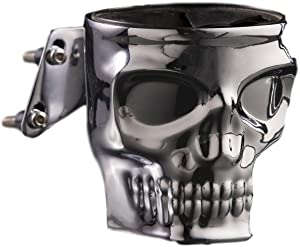 Kruzer Kustom Kaddy Chrome Skull Motorcycle Cup Holder