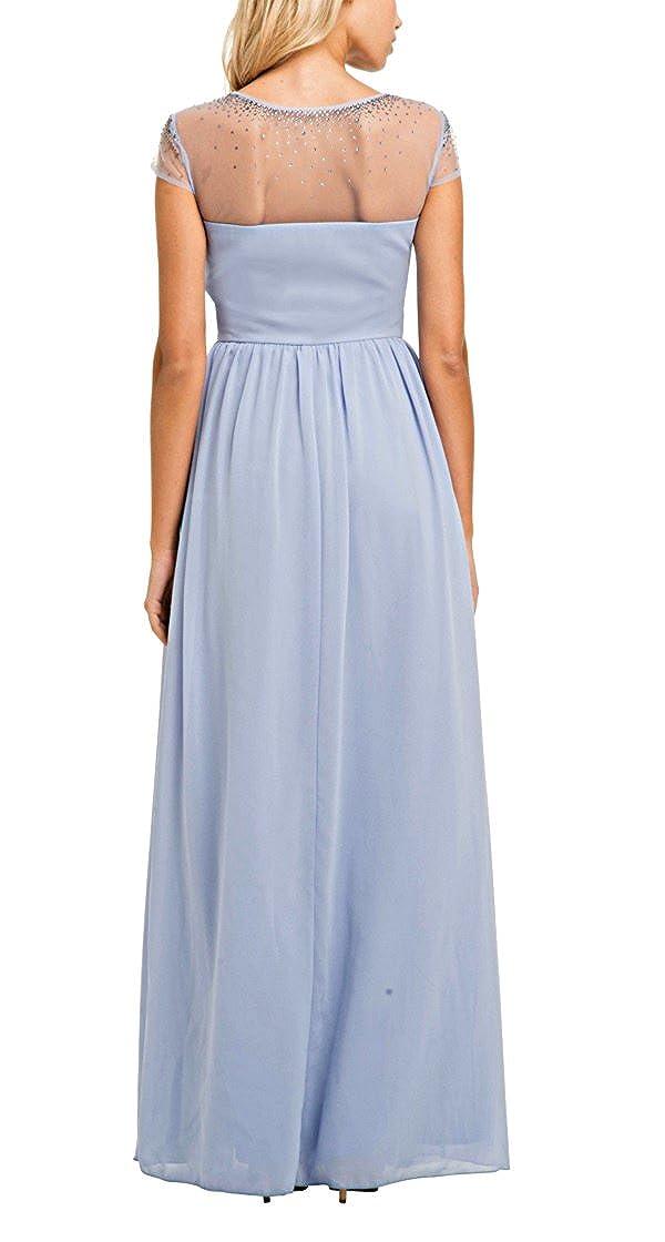 Chi Chi London Tula Sheer Beaded Panel Maxi Dress, Lilac/Pale Purple, UK Size 12: Amazon.co.uk: Clothing
