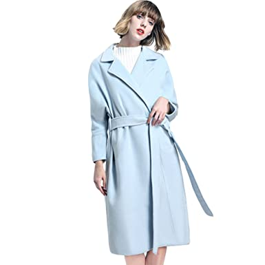 889c17d626f3 Elegant Lady Winter Pure Color Wool Blends Coats Women Loose Ties Big Lapel  Tops