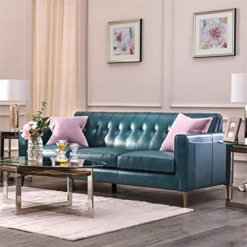 MAKLAINE Leather Sofa Tufted Back