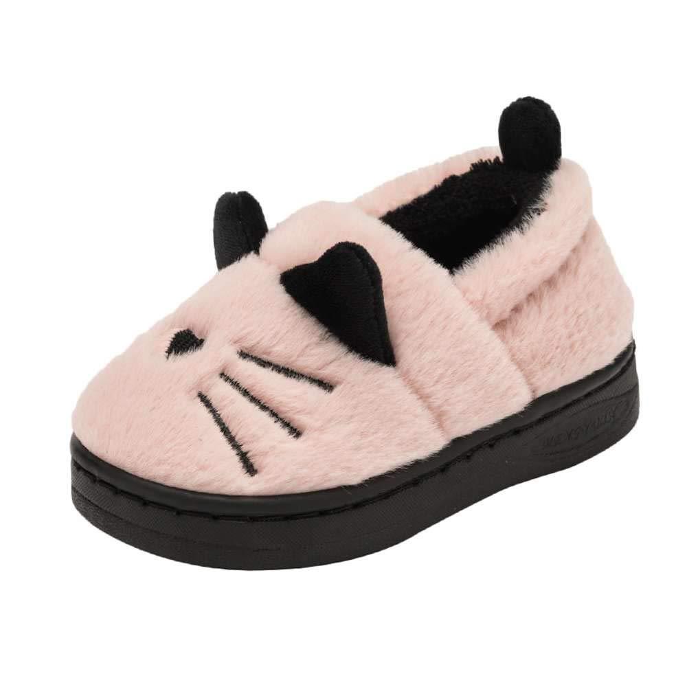 Kids Slippers Cute Cat Winter Indoor Outdoor Booties for Toddler Girls Boys