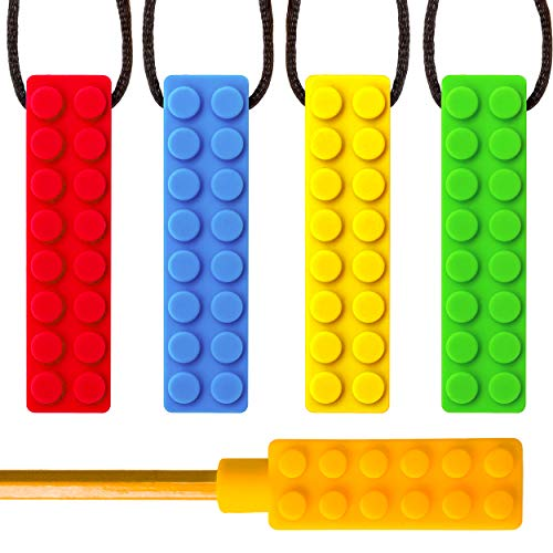 SENSO MEGA BUNDLE Sensory Chew Necklace Set - (4 PACK + BONUS PENCIL TOPPER) - Silicone Chewy for ADHD, Teething, Autism, Biting, Oral Motor Chew Toy for Boys and Girls (Classroom Play Food Set)
