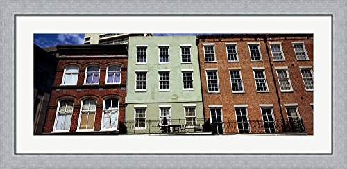 Low angle view of buildings, Riverwalk Area, New Orleans, Louisiana, USA by Panoramic Images Framed Art Print Wall Picture, Flat Silver Frame, 44 x 20 - Louisiana Riverwalk