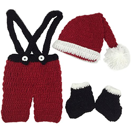 [Jastore Infant Newborn Costume Photography Prop Santa Claus Crochet Knitted (Style 8)] (Infant Santa Costumes)