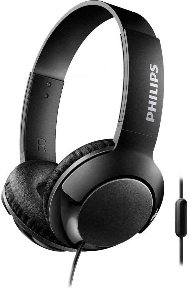 Philips Bass+ SHL3075BK - Auriculares con micrófono (Cable, Bajos potentes, Plegables, Ligeros y Elegantes) Negro