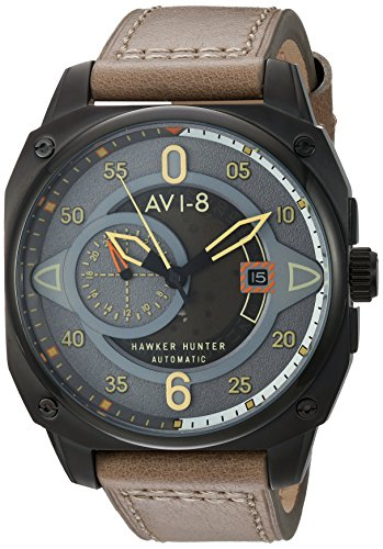 AVI-8 Men's 'Hawker Hunter' Japanese Automatic Stainless Steel and Leather Aviator Watch, Color:Beige (Model: AV-4043-03)