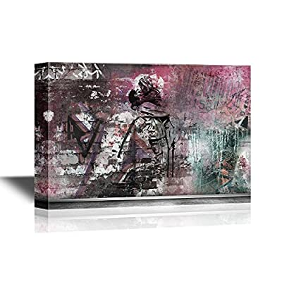 Canvas Wall Art - Abstract Kissing Art - Gallery Wrap Modern Home Art | Ready to Hang - 32x48 inches