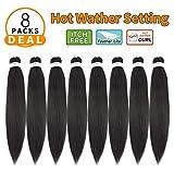 Pre Stretched Braiding Hair 24'-8 Packs/Lot Professional Itch Free Hot Water Setting Synthetic Fiber Crochet Braids Braiding Yaki Texture Hair Extension Twist Braid(#1B)